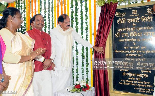 Vice President M Venkaiah Naidu doing the rituals of foundation stone for Ranchi Greenfield Smart City' along with Governor Droupadi Murmu and Chief...