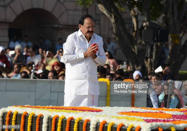 Vice President M Venkaiah Naidu pays tributes to Mahatma Gandhi the father of the nation on his 148th birth anniversary at Rajghat in New Delhi
