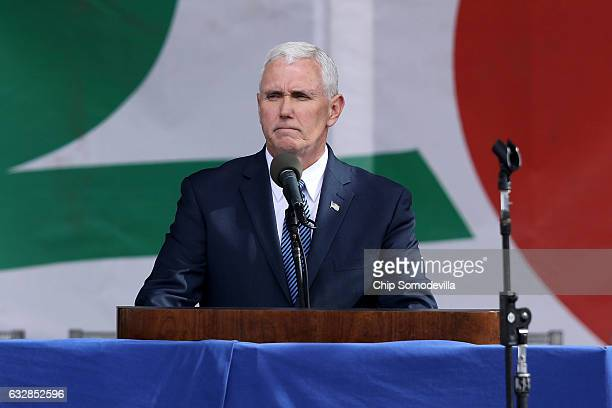 S Vice President Mike Pence addresses a rally on the National Mall before the start of the 44th annual March for Life January 27 2017 in Washington...