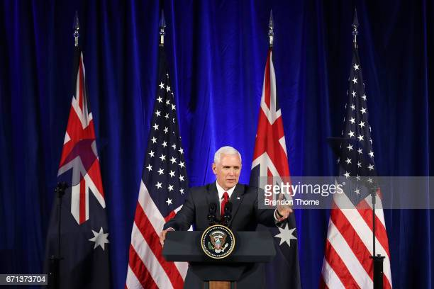 Vice President Mike Pence addresses business leaders at The InterContinental on April 22 2017 in Sydney Australia Mr Pence will meet with Prime...