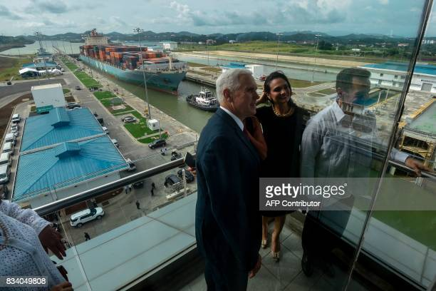 US' Vice President Mike Pence and his Panamanian counterpart Isabel de Saint Malo visit the Panama Canal's Cocoli locks in Panama City on August 17...