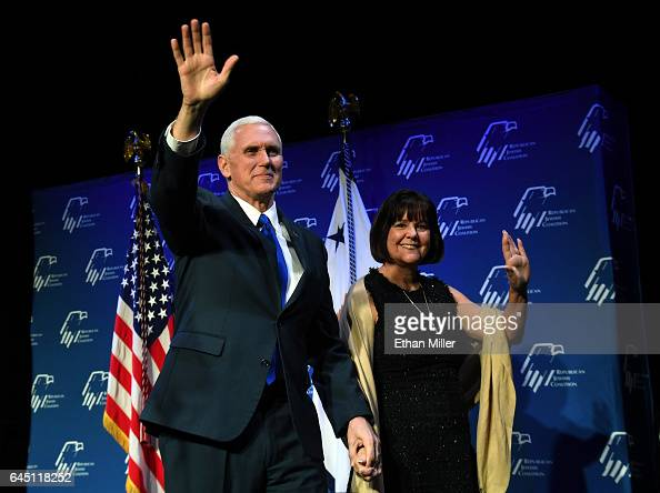 S Vice President Mike Pence and his wife Karen Pence are introduced at the Republican Jewish Coalition's annual leadership meeting at The Venetian...
