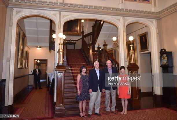 US Vice President Mike Pence and his wife Karen pose for a photo at Government House with the Governor of New South Wales David Hurley and his wife...