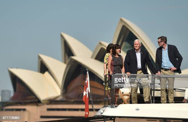 US Vice President Mike Pence and his wife Karen take a harbour cruise with New South Wales state Premier Gladys Berejiklian and New South Wales...