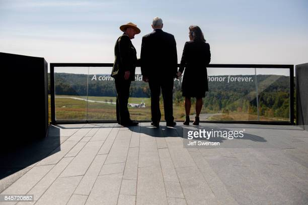 Vice President Mike Pence and his wife Karen tour the Flight 93 National Memorial on the 16th Anniversary ceremony of the September 11th terrorist...
