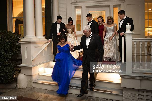 US Vice President Mike Pence and Karen Pence depart with their family for Inaugural balls to mark the Inauguration of US President Donald Trump...