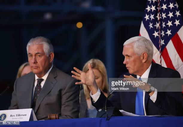 Vice President Mike Pence and Secretary of State Rex Tillerson participate in the inaugural meeting of the National Space Council titled 'Leading the...