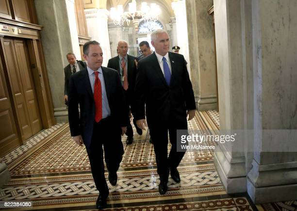 S Vice President Mike Pence and White House Chief of Staff Reince Priebus arrive at the US Capitol July 25 2017 in Washington DC The US Senate is...