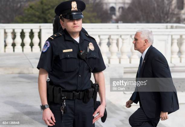 Vice President Mike Pence arrives at the Capitol to preside over the Senate and cast a possible tie breaking vote on the confirmation of Betsy Devos...