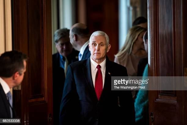 WASHINGTON DC Vice President Mike Pence arrives before President Donald Trump holds a joint press conference in the East Room with Japanese Prime...