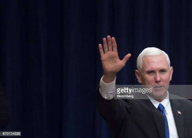 US Vice President Mike Pence arrives for a meeting with US and Japanese business leaders in Tokyo Japan on Wednesday April 19 2017 Pence said the...