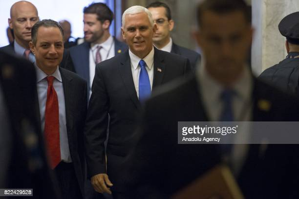 Vice President Mike Pence arrives with White House Chief of Staff Reince Priebus at the US Capitol for congressional policy luncheons and to possibly...