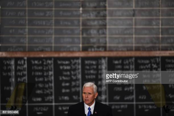 US Vice President Mike Pence delivers a speech at the Buenos Aires Stock Exchange on August 15 2017 Pence arrived in Argentina for a 24hour official...