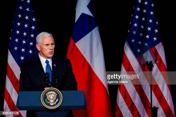 S Vice President Mike Pence delivers a speech during a business dinner with members of the Chilean Chamber of Commerce on August 16 2017 in Santiago...