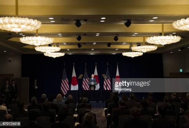 US Vice President Mike Pence delivers remarks during a meeting with US and Japanese business leaders in Tokyo Japan on Wednesday April 19 2017 Pence...