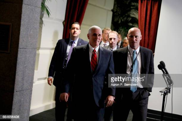 Vice President Mike Pence departs after a meeting of House Republicans on Capitol Hill April 4 2017 in Washington DC Republicans are hoping to win...