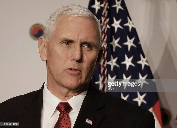 S Vice President Mike Pence gives a speech to members of the American Chamber of Commerce at the Grand Hyatt Hotel on April 18 2017 in Seoul South...