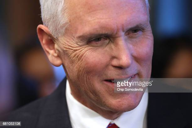 Vice President Mike Pence greets guests during an event celebrating National Military Appreciation Month and National Military Spouse Appreciation...