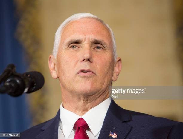 US Vice President Mike Pence introduces President Trump to make a statement on health care at The White House on July 24 2017 in Washington DC