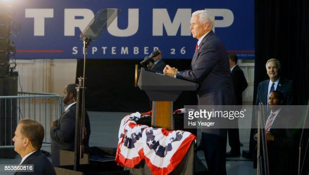 Vice President Mike Pence joins Sen Luther Strange at a campaign rally at HealthSouth Aviation on September 25 2017 in Birmingham Alabama President...