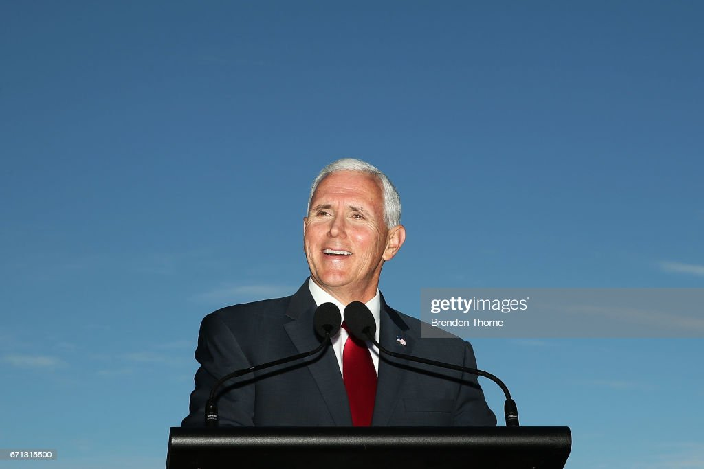 US Vice President Mike Pence laughs during a press conference at Kirribilli House on April 22, 2017 in Sydney, Australia. Mr Pence will meet with Prime Minister Malcolm Turnbull, Foreign Minister Julie Bishop, Opposition Leader Bill Shorten, and members of the US and Australian militaries during his two-day visit. It is the first time a US Vice President has come to Australia before a President in nearly 30 years.