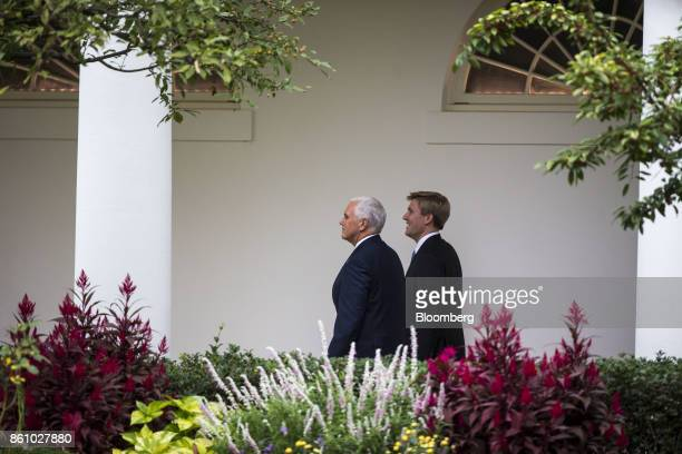 US Vice President Mike Pence left and Nick Ayers chief of staff to Vice PresidentMike Pence walk towards the West Wing of the White House in...