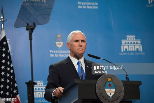 US Vice President Mike Pence listens during a joint press conference with Mauricio Macri Argentina's president not pictured in Buenos Aires Argentina...