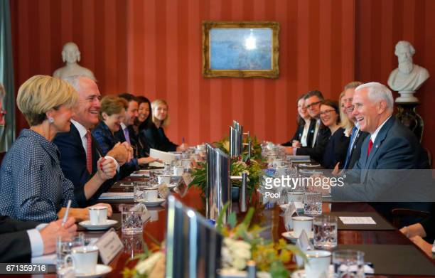 S Vice President Mike Pence participates in a meeting with Australian Prime Minister Malcolm Turnbull at Admiralty House on April 22 2017 in Sydney...