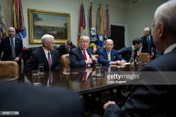Vice President Mike Pence President Donald Trump Commerce Secretary nominee Wilbur Ross and senior advisor Jared Kushner attend a meeting with Senate...