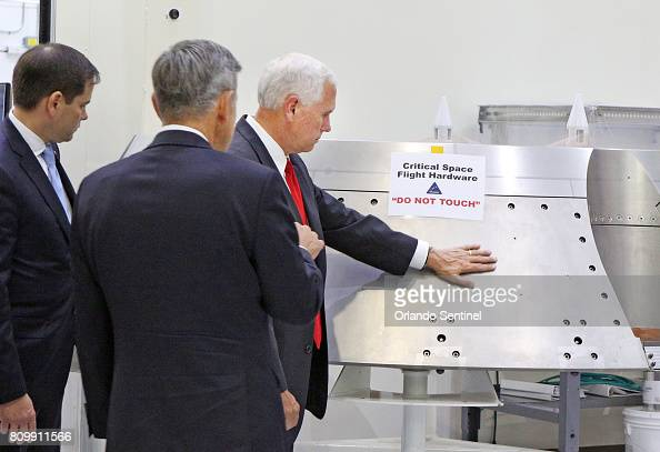VP Mike Pence tours KSC : News Photo