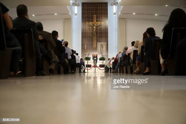 Vice President Mike Pence speaks about the ongoing crisis in Venezuela at Our Lady of Guadalupe Catholic Church on August 23 2017 in Doral Florida...