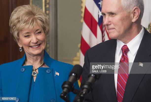 US Vice President Mike Pence speaks alongside Linda McMahon before she is sworn in as the Administrator of the Small Business Administration during a...