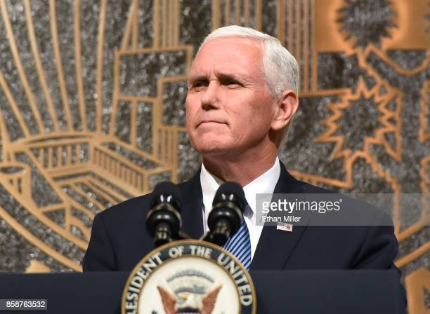 S Vice President Mike Pence speaks at the culmination of a faith unity walk held to help the community heal after Sunday's mass shooting at Las Vegas...