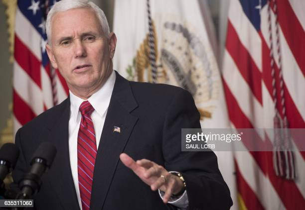 US Vice President Mike Pence speaks before swearingin Linda McMahon as the Administrator of the Small Business Administration during a ceremony in...