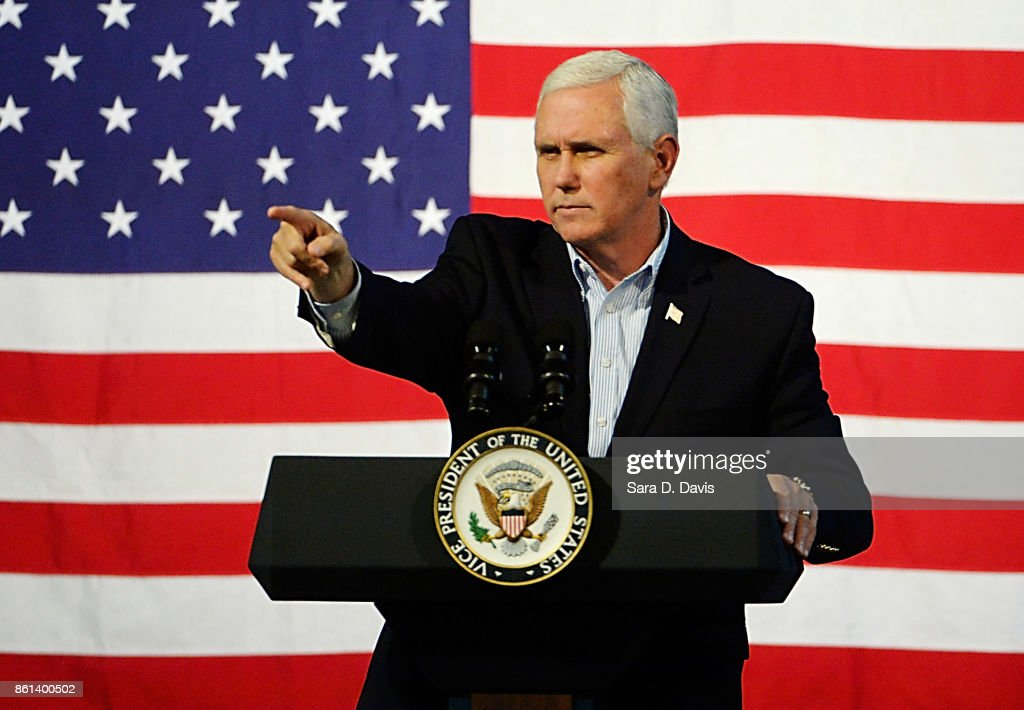 U.S. Vice President Mike Pence speaks during a campaign rally for gubernatorial candidate Ed Gillespie, R-VA, at the Washington County Fairgrounds on October 14, 2017 in Abingdon, Virginia. Virginia voters head to the polls on Nov. 7.