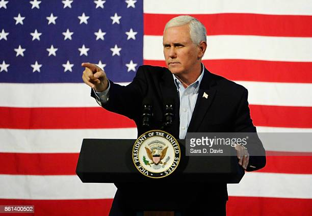 S Vice President Mike Pence speaks during a campaign rally for gubernatorial candidate Ed Gillespie RVA at the Washington County Fairgrounds on...