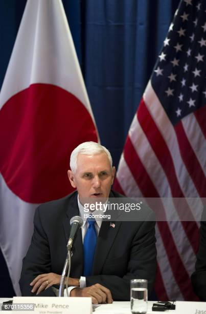 US Vice President Mike Pence speaks during a meeting with US and Japanese based business leaders in Tokyo Japan on Wednesday April 19 2017 Pence said...