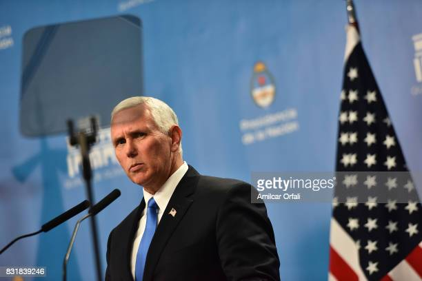 S Vice President Mike Pence speaks during a press conference as part of the official visit of US Vice President Mike Pence to Buenos Aires at the...