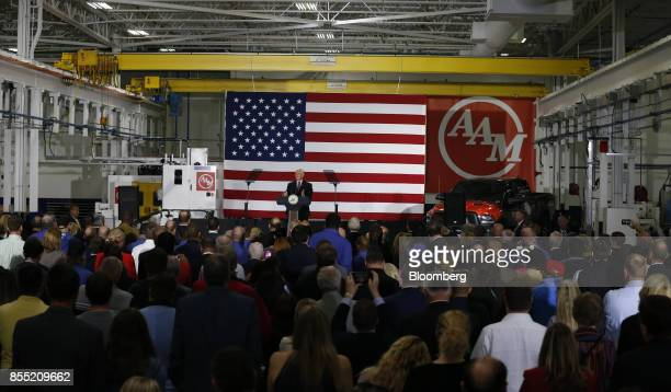 US Vice President Mike Pence speaks during an event at the American Axle Manufacturing Inc facility in Auburn Hills Michigan US on Thursday Sept 28...
