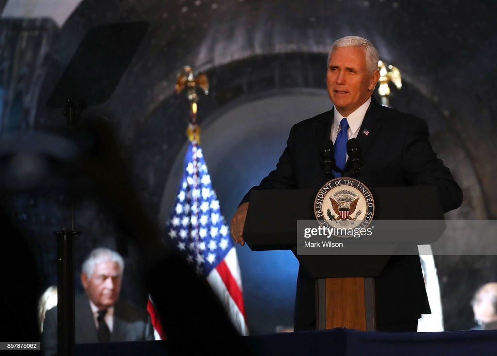 Vice President Mike Pence speaks during the inaugural meeting of the National Space Council on 'Leading the Next Frontier' at the National Air and Space Museum, Steven F. Udvar-Hazy Center, October 5, 2017 in Chantilly, Virginia. Originally established in 1958, this is the first meeting of the newly reestablished council in 20 years.