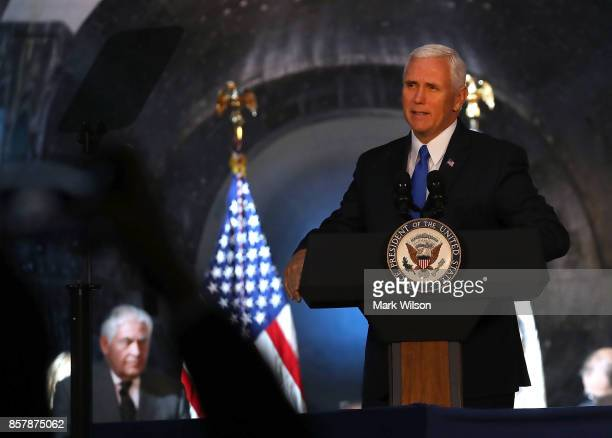 Vice President Mike Pence speaks during the inaugural meeting of the National Space Council on 'Leading the Next Frontier' at the National Air and...