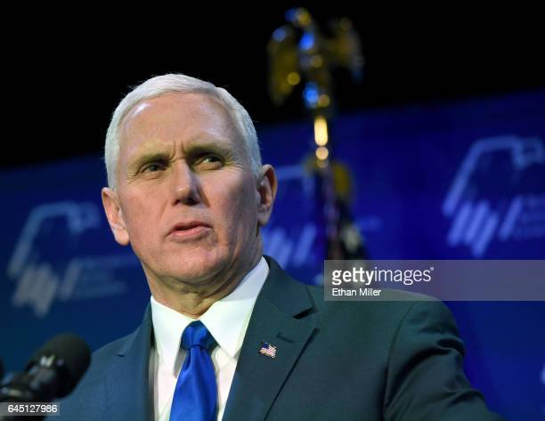 S Vice President Mike Pence speaks during the Republican Jewish Coalition's annual leadership meeting at The Venetian Las Vegas on February 24 2017...