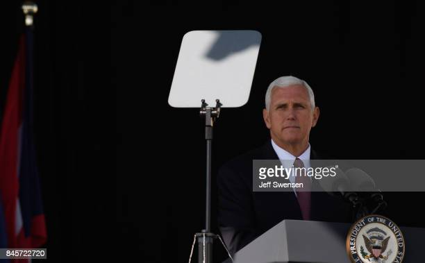 Vice President Mike Pence speaks to visitors at the Flight 93 National Memorial on the 16th Anniversary ceremony of the September 11th terrorist...