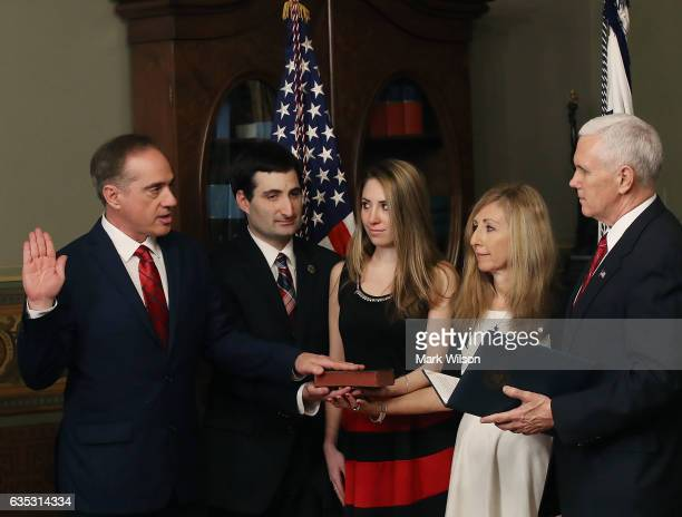 S Vice President Mike Pence swears in Dr David Shulkin to be new Veterans Affairs Secretary February 14 2017 in Washington DC Shulkin was joined by...