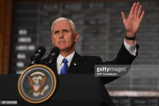 US Vice President Mike Pence waves after delivering a speech at the Buenos Aires Stock Exchange on August 15 2017 Pence arrived in Argentina for a...