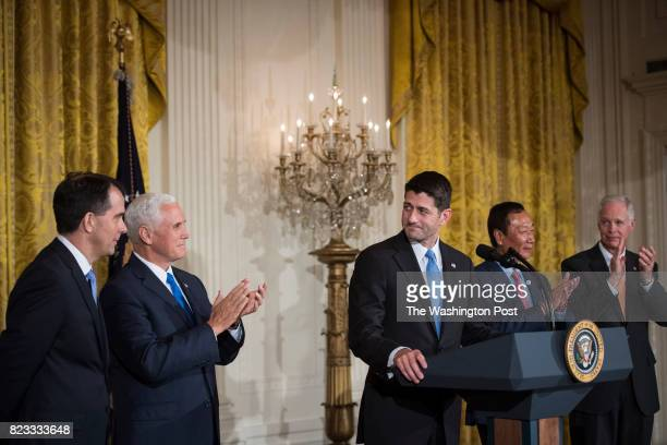 Vice President Mike Pence Wisconsin Gov Scott Walker House Speaker Paul Ryan of Wis and Terry Gou president and chief executive officer of Foxconn...