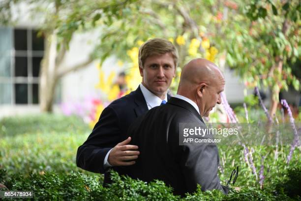 US Vice President Mike Pence's chief of staff Nick Ayers walks with National Security Adviser HR McMaster after a joint press conference between US...