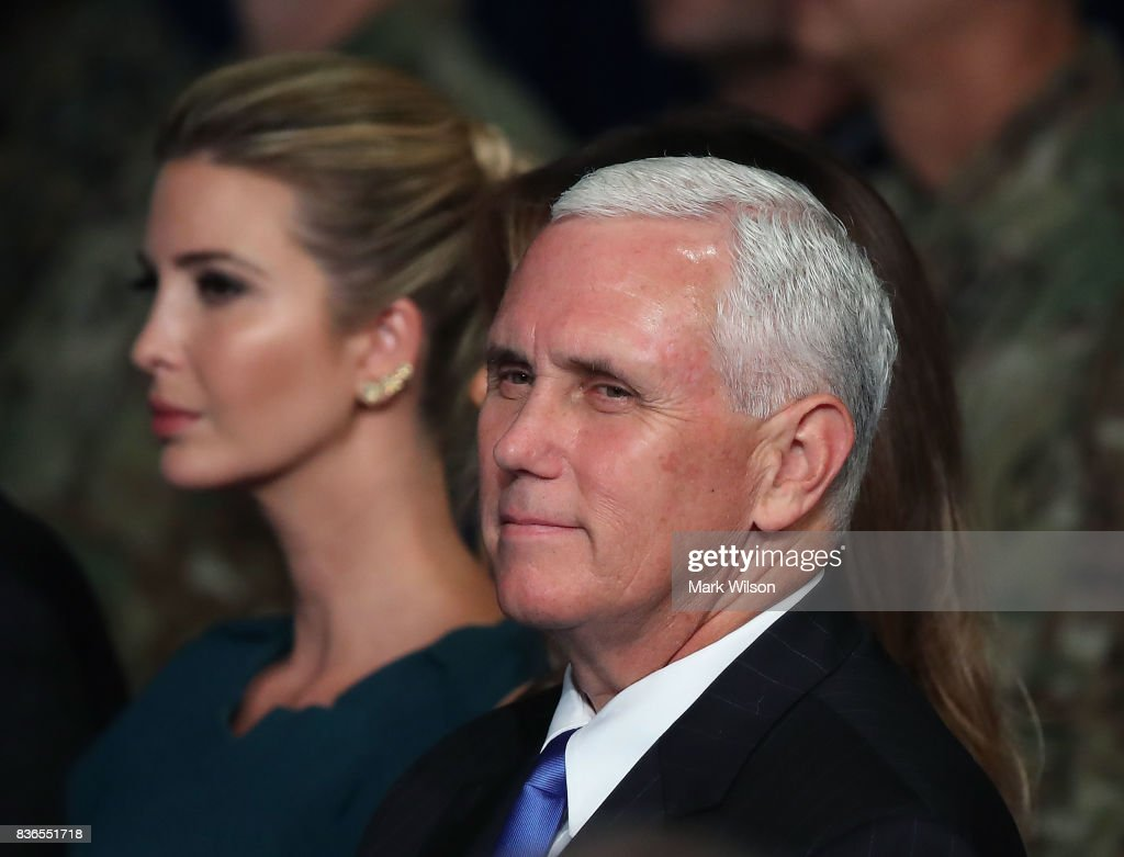 U.S. Vice President Mike Pense sits with Ivanka Trump as President Donald Trump delivers remarks on AmericaN involvement in Afghanistan at the Fort Myer military base on August 21, 2017 in Arlington, Virginia. Trump was expected to announce a modest increase in troop levels in Afghanistan, the result of a growing concern by the Pentagon over setbacks on the battlefield for the Afghan military against Taliban and al-Qaeda forces.