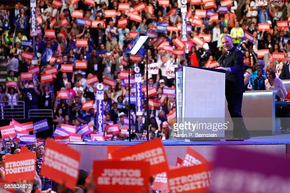 Vice President nominee Tim Kaine acknowledges the crowd on the third day of the Democratic National Convention at the Wells Fargo Center July 27 2016...