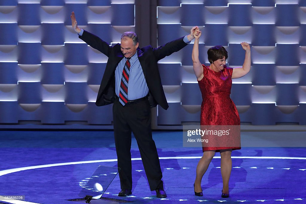 Vice President nominee Tim Kaine along with his wife Anne Holton acknowledge the crowd after delivering remarks on the third day of the Democratic...